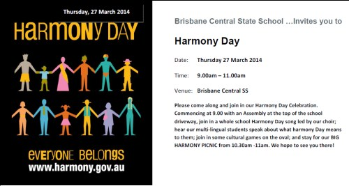 Change To Harmony Day Celebrations
